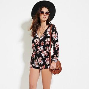 767bce55339 Forever 21 Dresses - Forever 21 Long Sleeve Floral Surplice Romper